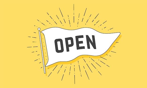Open. vlag grahpic. oude vintage trendy vlag met tekst open