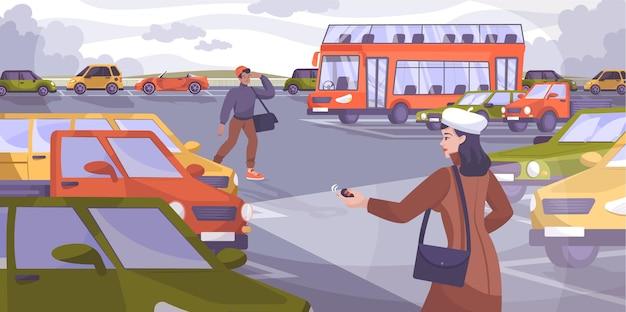 Open vlakke compositie met buitenlandschap met dubbeldekkerbus en auto's met chauffeurskarakters