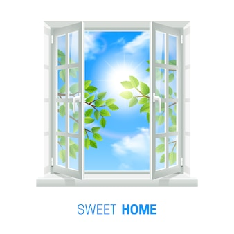 Open wit venster op heldere zonnige dag