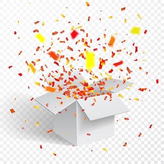 Open witte geschenkdoos en confetti.