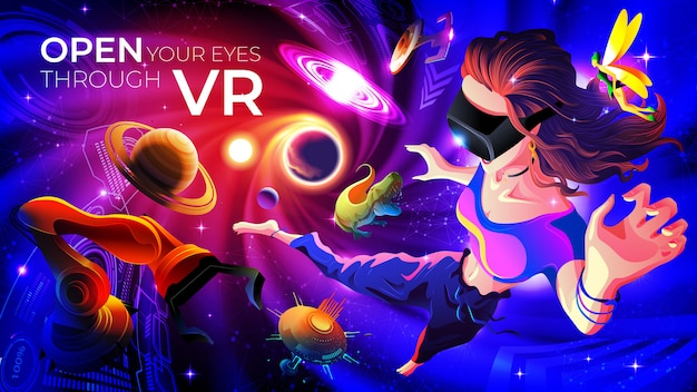 Open your eyes through vr-conceptillustratie