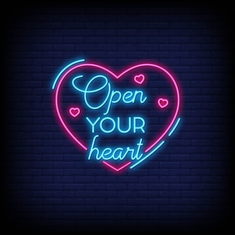 Open your heart voor poster in neonstijl. romantische citaten en woord in neon sign stijl.