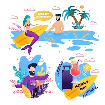 Open zomer en surfseizoen advertentieset
