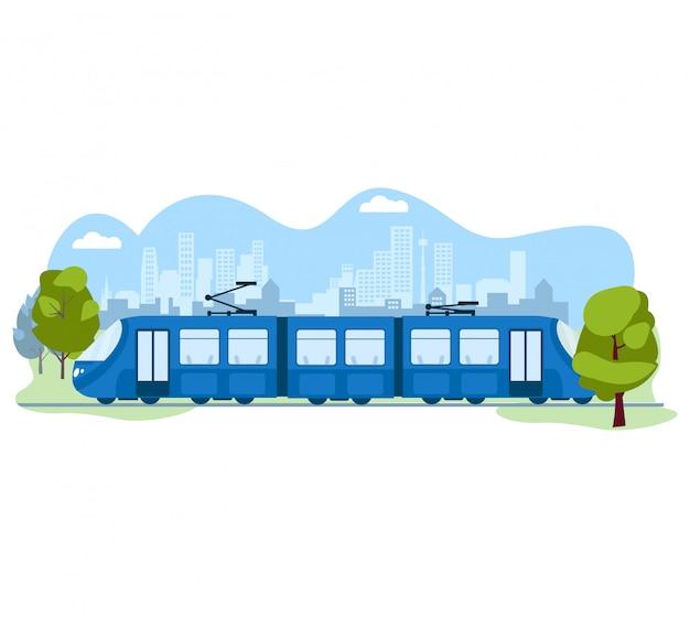 Openbaar modern skytraintransport, metro stedelijk systeem op wit, illustratie. ecologie vriendelijke elektrische verkeerstrein.