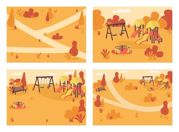 Openbaar park in herfst tijd egale kleur illustratie set