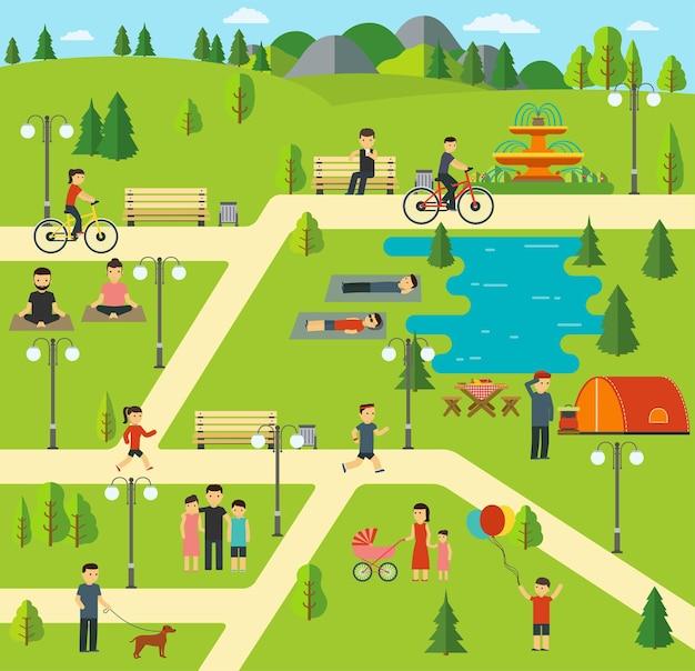Openbaar park, kamperen in het park.
