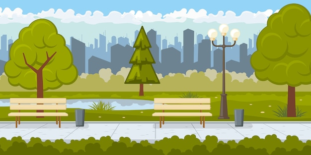 Openbaar park met de illustratie van de asfaltweg
