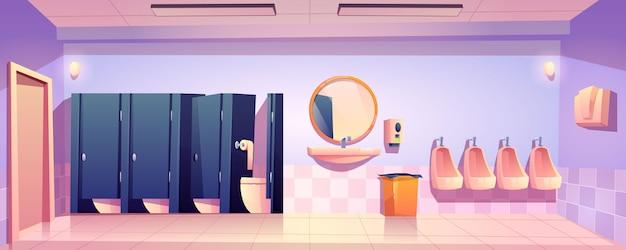 Openbaar toilet voor mannen, lege wc toilet interieur