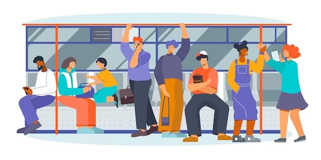 Openbaar vervoer metro metro ondergrondse interieur auto afbeelding met staande zittende berichten pratende passagiers vlakke afbeelding