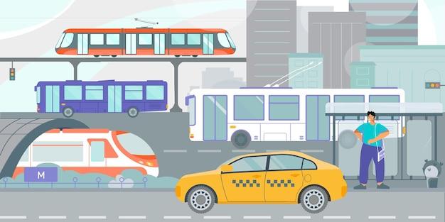 Openbaar vervoer tram bus gele taxi in stadsstraat wachtende passagier bij trolleybus stop vlakke afbeelding
