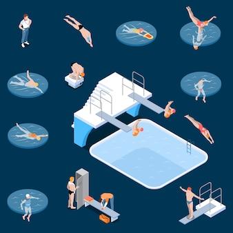 Openbaar zwembad sportartikelen kleedkamer elementen en bezoekers isometrische set donker geïsoleerd