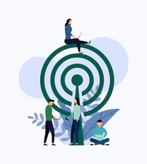 Openbare gratis wifi hotspot zone draadloze verbinding, bedrijfsconcept