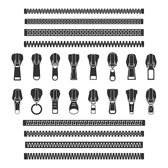 Openende en gesloten ritssluiting en zijn onderdelen