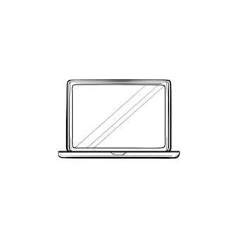 Opengeklapte laptop hand getrokken schets doodle pictogram. notebook en computer, elektronisch apparaat, kantoorapparatuurconcept