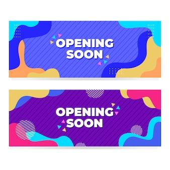 Opening binnenkort banner met modern memphis design