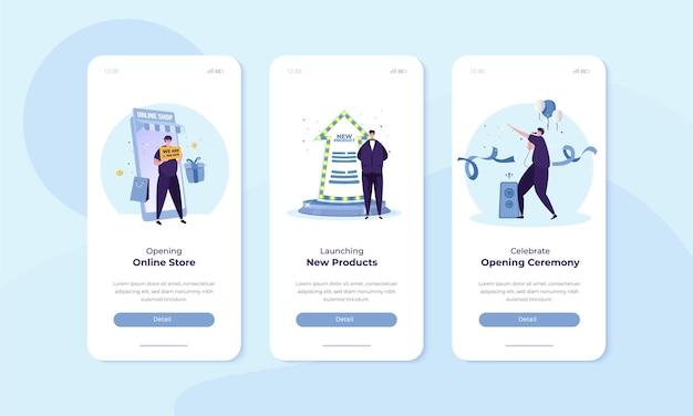 Opening van online winkel en promotieaanbiedingsillustratie op mobiel scherm voor gebruikersinterfaceconcept