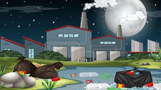 Openlucht fabrieksscène met vuilnis