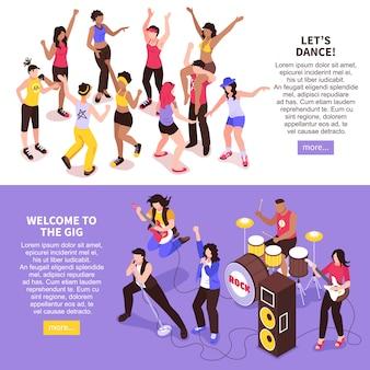 Openlucht muziekfestival horizontale banners met rockband en dansende menigte van publiek isometrisch