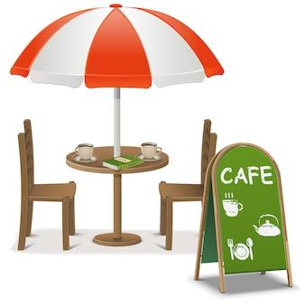 Openluchtcafé geïsoleerd op witte achtergrond