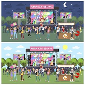 Openluchtfestival met mensen en muzikanten.