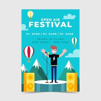 Openluchtmuziekfestival poster sjabloon met man