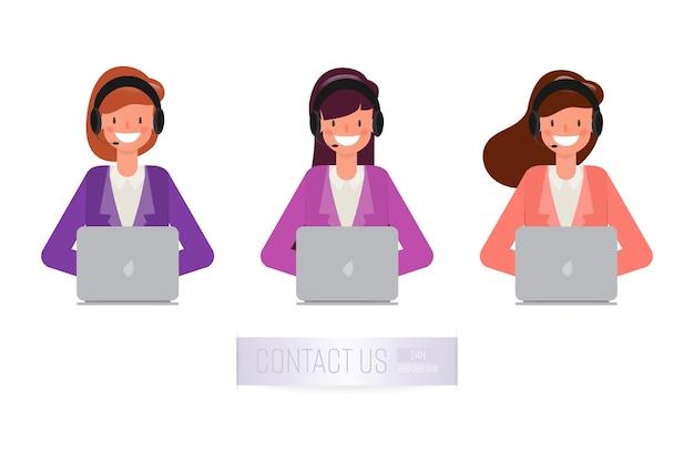 Operator van het callcenter en klantenservice.