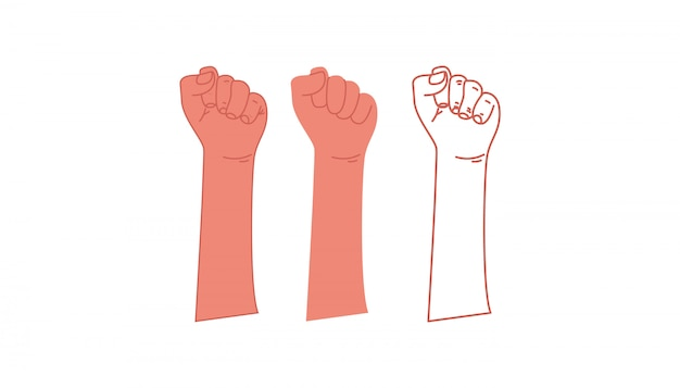 Opgeheven vuist. een symbool van vrijheid, strijd, revolutie, eenheid, kracht en strijd. vector