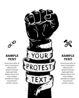 Opgeheven vuist gehouden in protestaffiche