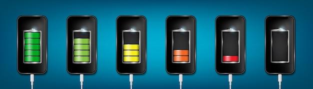 Opgeladen batterij telefoon, usb-plugs kabel kabel.