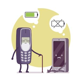 Opgeladen telefoon en dode smartphone