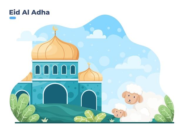 Opgeofferde of qurban-traditie terwijl eid al adha mubara gelukkig eid adha islamitisch offerfestival