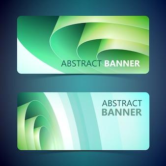 Opgerolde papieren horizontale banners met groene wikkelspoel in schone stijl geïsoleerd