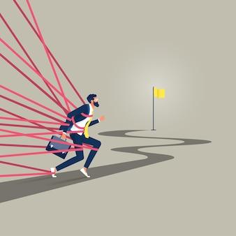 Opgesloten zakenman die door bureaucratie worstelt, kan zich niet vrij bewegen