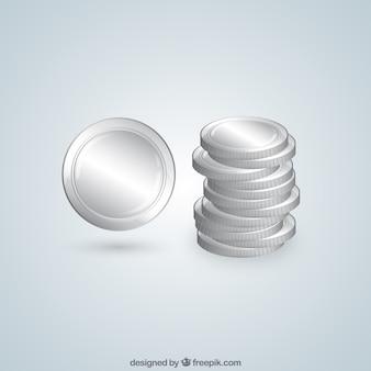 Opgestapeld zilveren munten