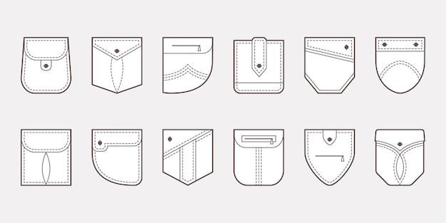 Opgestikte zak pictogrammen knoppen en lijn naad illustratie