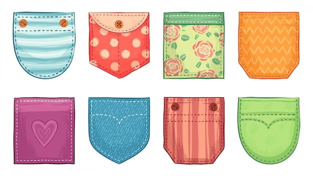 Opgestikte zakken in kleur. comfortabele zakpatches met naad, knopen van denim opgestikte zakken en comfortabele kledingaccessoireset