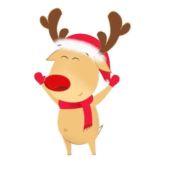 Opgewonden cartoon herten in kerstmuts en sjaal zwaaiende handen