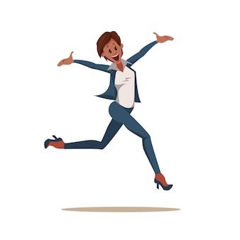 Opgewonden collega vrouw dragen broekpak jump up