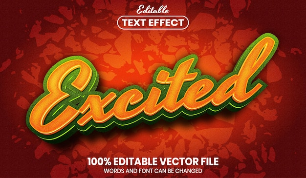 Opgewonden tekst, bewerkbaar teksteffect in lettertypestijl