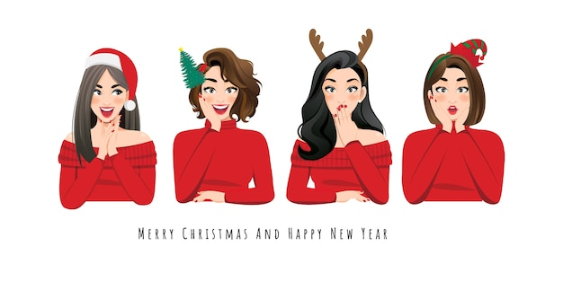 Opgewonden verrast vrouw in rode trui jurk, kerstman hoed en hoofdband op het karakter van de witte achtergrond