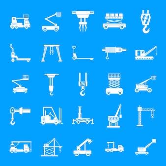 Opheffende machinepictogrammen geplaatst, eenvoudige stijl