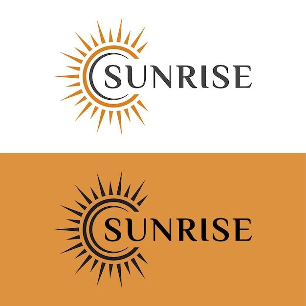 Ophelderende zon of zonsopgang, zonsondergang flare licht heldere glans logo-ontwerp voor uw bedrijfsmerk
