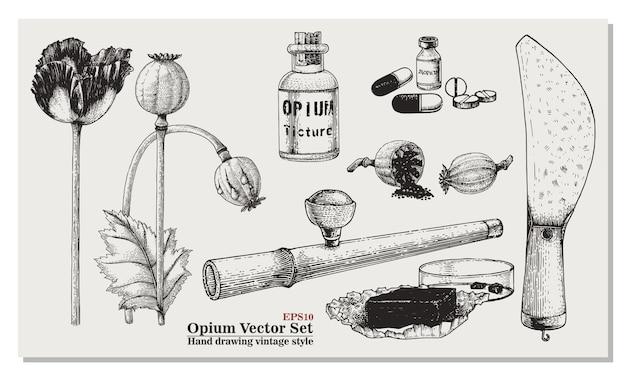Opium set hand tekenen vintage stijl
