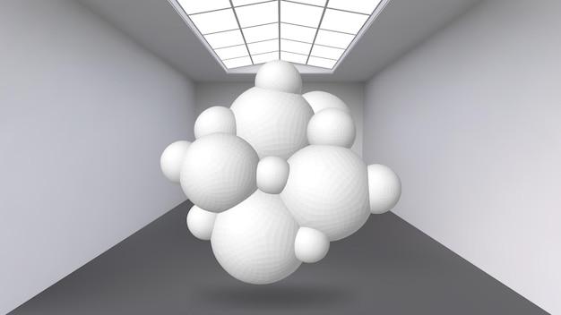 Opknoping abstract veelhoekig object. de witte kamer met het onderwerp in het midden. expositieruimte voor objecten van moderne kunst. sci-fi-objecten. structureel volumetrisch raster.