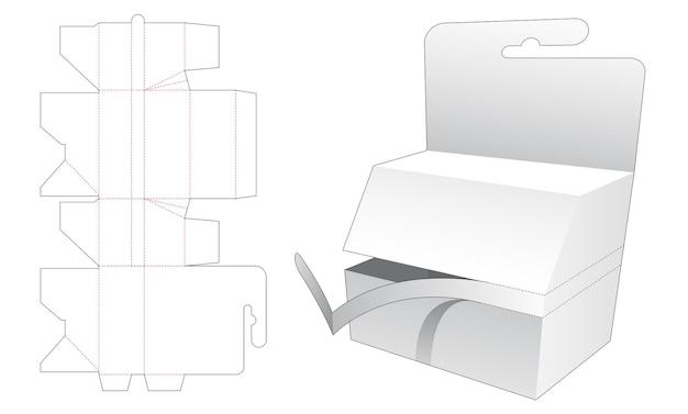 Opknoping doos met gestanst sjabloon met ritssluiting Premium Vector