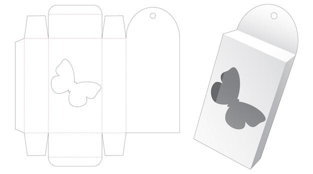 Opknoping doos met vlinder cartoon vormige venster gestanst sjabloon