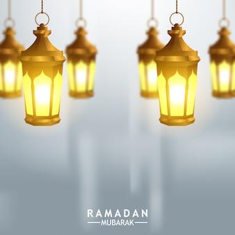 Opknoping gouden arabische lantaarn illustratie voor wenskaartsjabloon