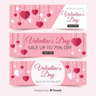 Opknoping harten valentijn verkoop banner