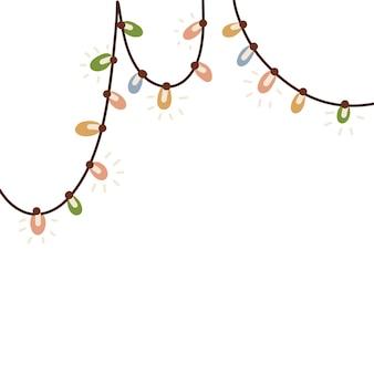 Opknoping lichtslingers slinger kerstversiering gloeiende decoratieve lichten wenskaart vrolijk kerstfeest...