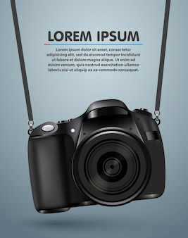 Opknoping realistische fotocamera. professionele fotostudio achtergrond.